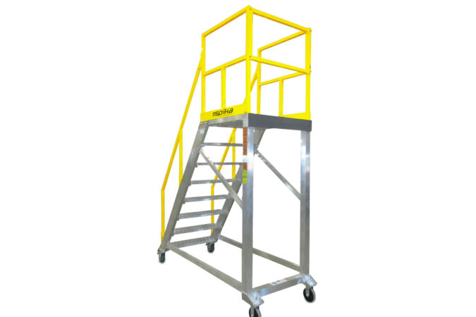 OSHA compliant, lightweight mobile work stand with optional, self-closing safety gate to ensure employee safety compliance and 100% fall protection.