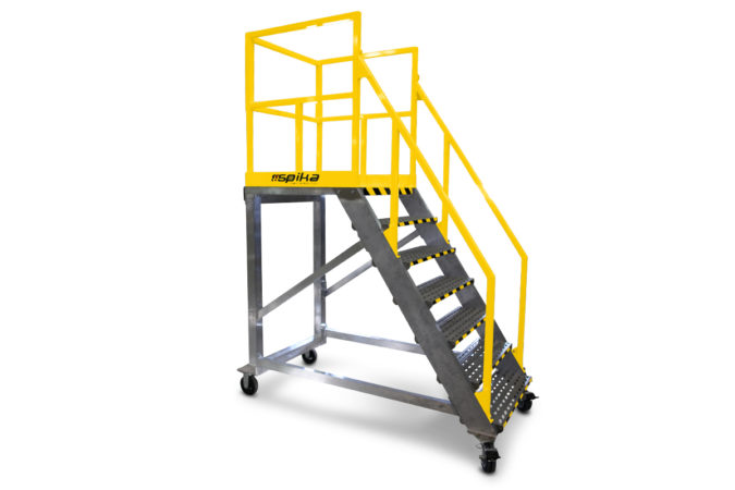 OSHA compliant, mobile aluminum work stand customized to specified fixed height, easy to move with industrial casters that lock quickly and securely.
