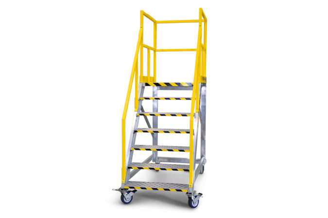 OSHA compliant, portable, aluminum stair work stand with optional vertical telescopic guardrails that lower to accommodate obstacles while providing 100% fall protection.