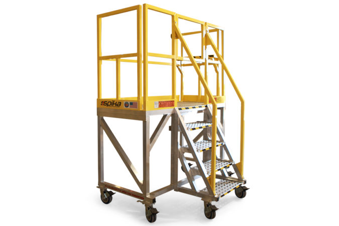 OSHA compliant, portable, aluminum work platform with customized stair landing size and shape and optional built-in accessories for improved ergonomics and safety.