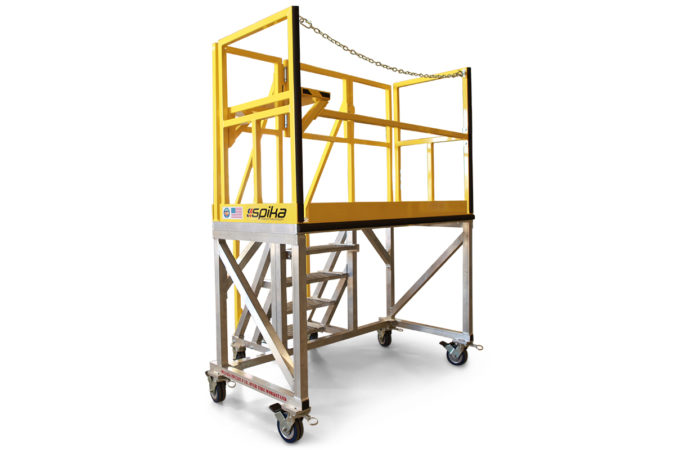 OSHA compliant, lightweight mobile stair work platform with completely custom guardrails, 4-side fall protection or 3-side fall protection allowing open access toward equipment.