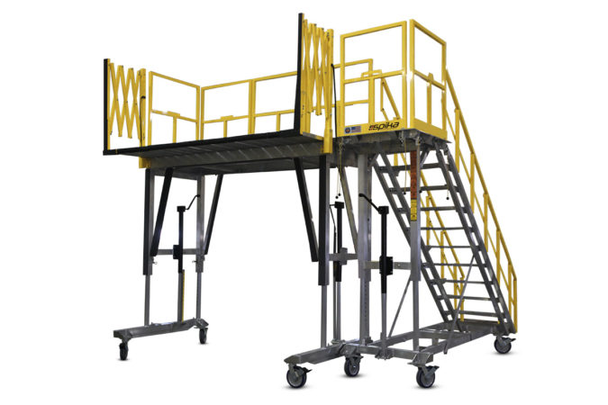 OSHA compliant, portable aluminum work stand, height adjustable with individual deck extensions for overreach and conformity, accordion guardrails extend automatically with deck sliders for 100% fall protection.