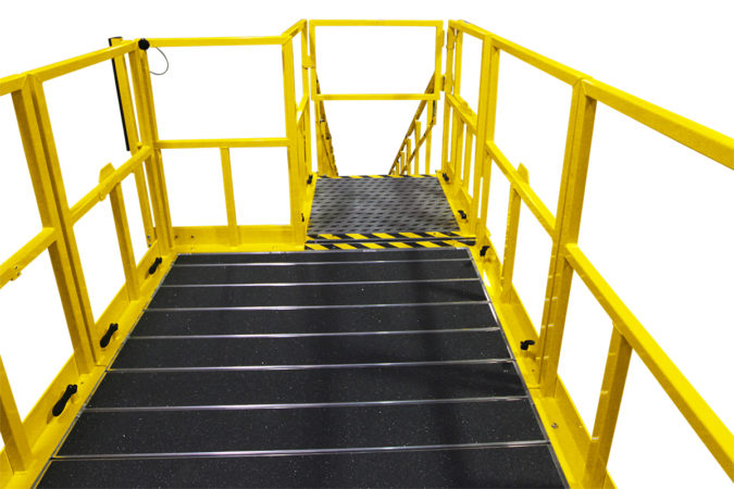 OSHA compliant aluminum work platform with ergonomic friendly surfaces for kneeling while working, featuring adjustable handrails and a self-closing safety ensuring employee safety compliance.