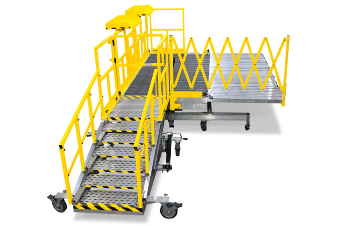 OSHA compliant custom portable aluminum work platform with a height adjustable staircase that maintains equal step at any height for reduced trip hazard and accordion guardrails for 100% fall prevention.