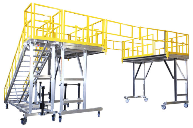 OSHA compliant aluminum portable work stands with crossover rails that provide protection from one side to the other side on a wrap-around bus fleet maintenance system or aviation maintenance stand.