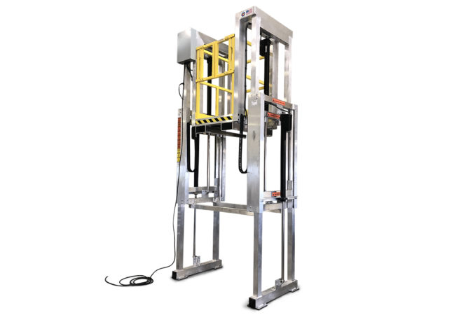OSHA compliant electric powered aluminum work stand offers on-deck controls to raise and lower the platform to any desired height.