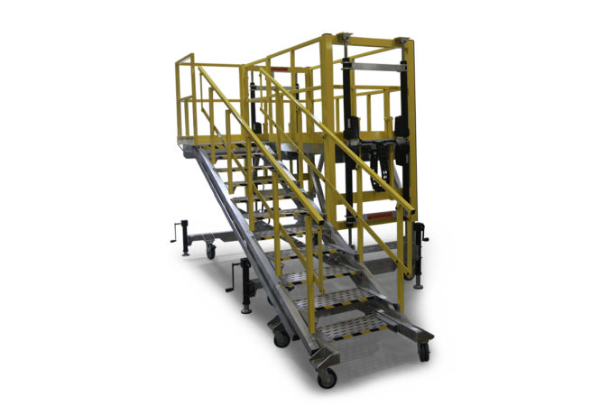 OSHA compliant, mobile, aluminum work platform with electric height adjustability of 12 to 96 inches or more available with attached stairs or detached staircase.