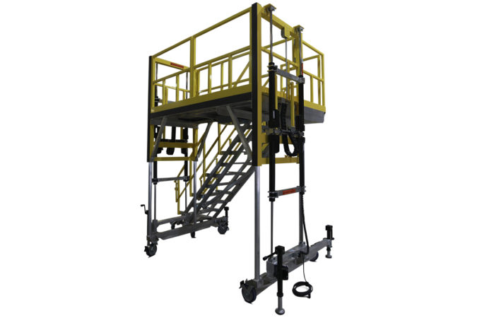 OSHA compliant, portable, aluminum work platform with electric height control using simultaneous actuation which doubles the speed for height travel capable of reaching eight feet or higher.