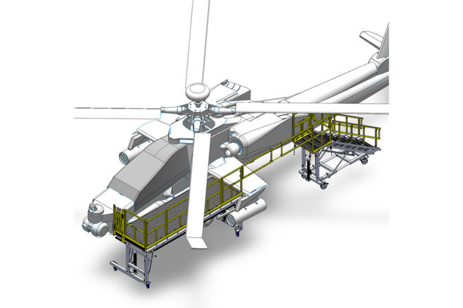 OSHA compliant mobile AH-64 daily check stand aluminum front rotor access for helicopter maintenance.