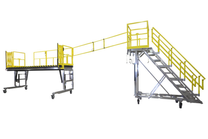 OSHA compliant mobile AH64 Apache maintenance stand with reconfigurable stair for helicopter maintenance.