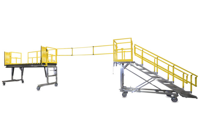 OSHA compliant mobile height adjustable cantilevered apache maintenance stand for helicopter maintenance.