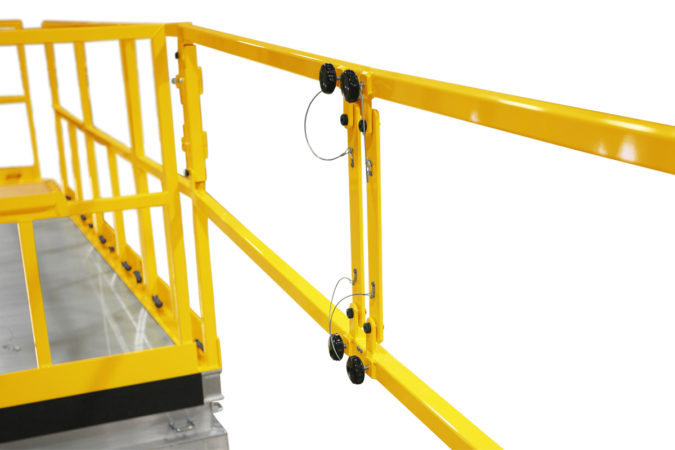 OSHA compliant portable H-64 check stand with sliders for conformance for helicopter maintenance.