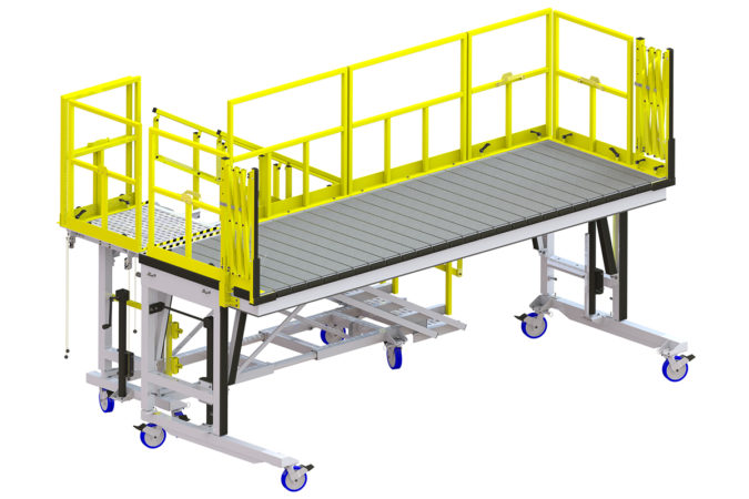 OSHA compliant portable 64 maintenance platform with sliders for helicopter maintenance.