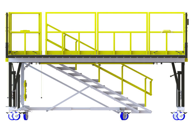 OSHA compliant mobile AH64 daily maintenance stand sliders removable rails for helicopter maintenance.