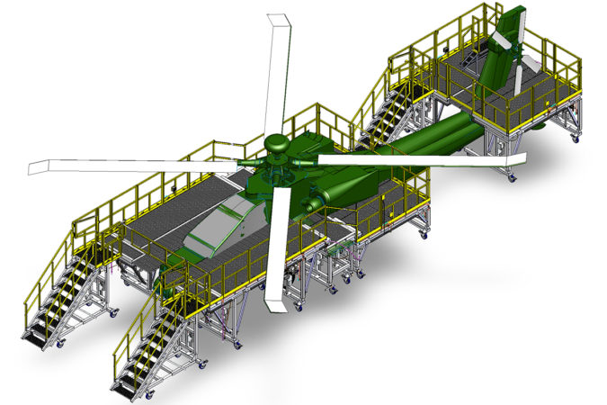 OSHA compliant mobile H64 wrap-around stand for helicopter maintenance.