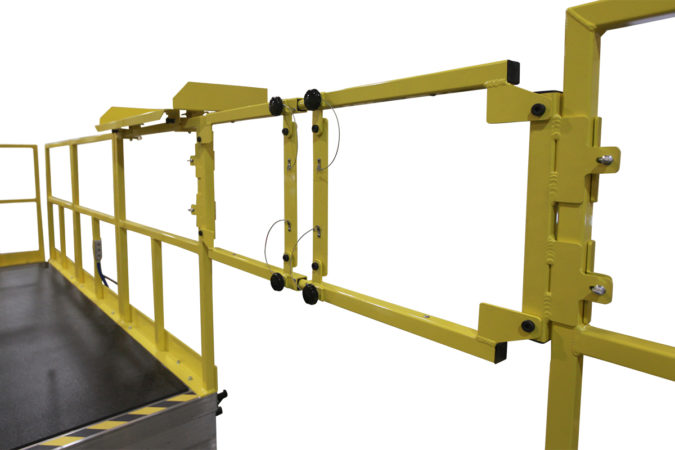 OSHA compliant mobile H-64 safety stand for helicopter maintenance.