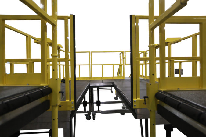 OSHA compliant mobile safety platforms for H-64 for helicopter maintenance.