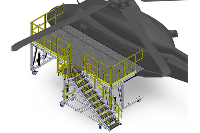OSHA compliant mobile AW139 aluminum fuselage stand with sliders for helicopter maintenance.