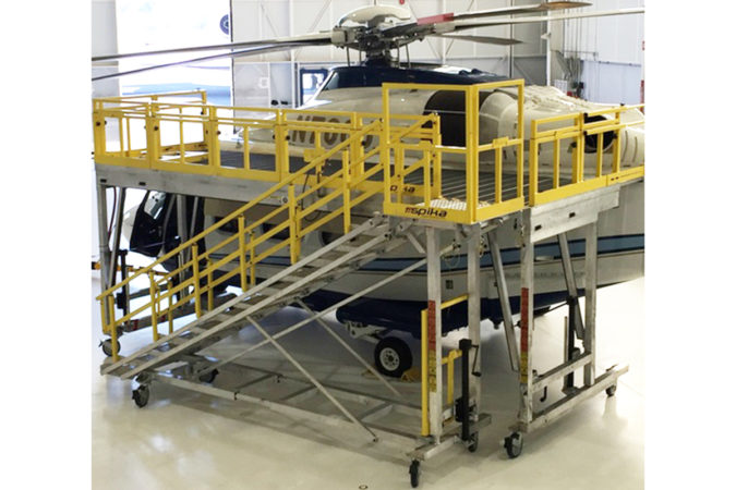 OSHA compliant mobile AW139 main rotor access stand aluminum for helicopter maintenance.