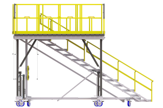 OSHA compliant portable lightweight H-47 safety stand with sliding deck for helicopter maintenance.