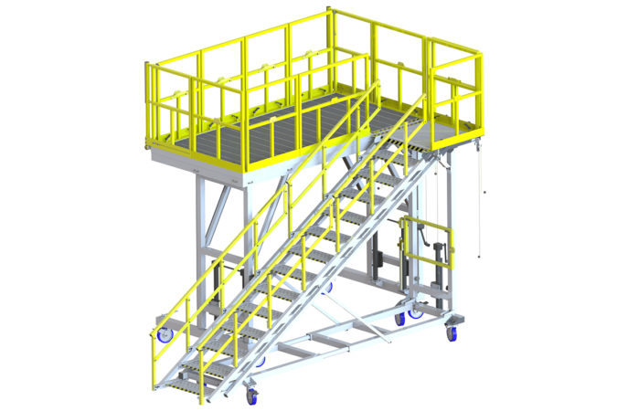 OSHA compliant mobile CH-47 safety stand with stair access for helicopter maintenance.