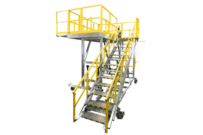 OSHA compliant mobile safety stand for H-47 tail for helicopter maintenance.