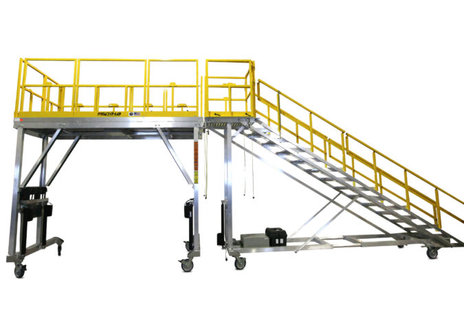 OSHA compliant mobile height adjustable H-47 check stand for helicopter maintenance.