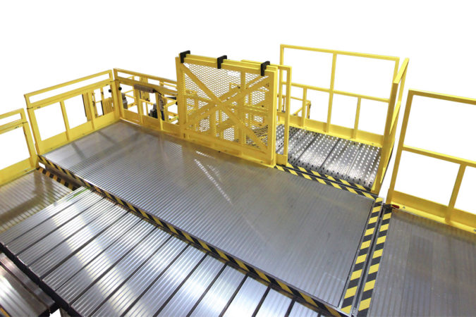 OSHA compliant portable slider deck 234 wrap around stand for helicopter maintenance.