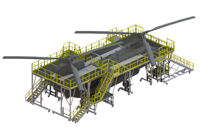 OSHA compliant mobile tail rotor fuselage and main rotor access stand for helicopter maintenance.