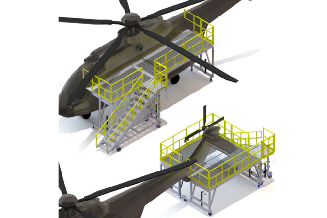 OSHA compliant mobile reconfigurable 725 check stand for helicopter maintenance.