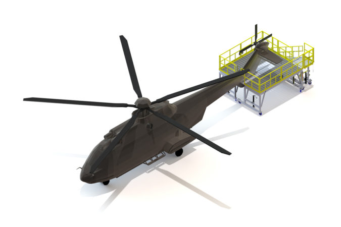 OSHA compliant portable tail rotor H225 maintenance stand for helicopter maintenance.