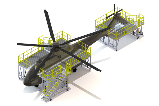 OSHA compliant mobile H225 fuselage and tail maintenance stand for helicopter maintenance.