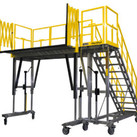 OSHA compliant portable height adjustable H-60 work platform for helicopter maintenance.