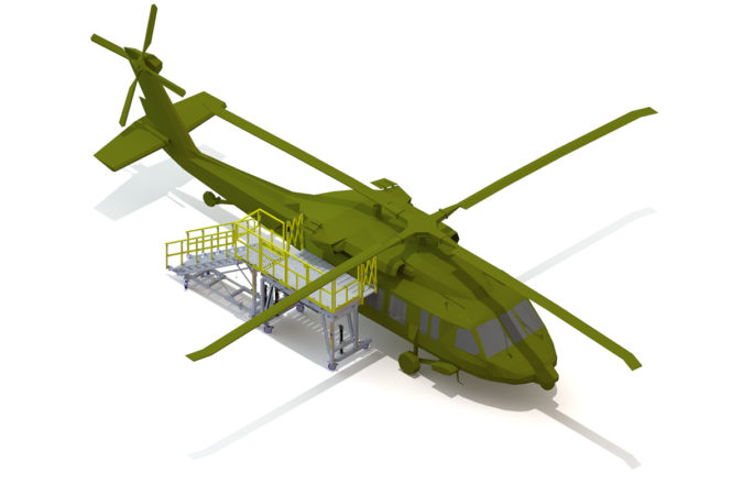 OSHA compliant mobile H-60 fuselage check stand for helicopter maintenance.