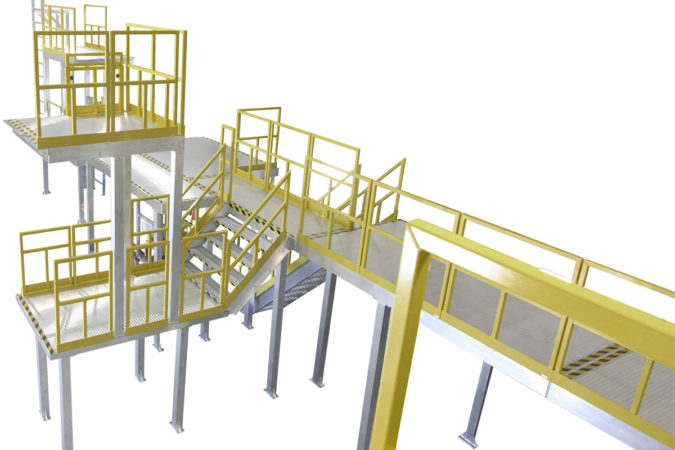 Custom, aluminum two-story work platform built to print, with bolted, powder coated handrail for OSHA compliant mezzanines, mobile scaffolding and manufacturing modules with multiple access points