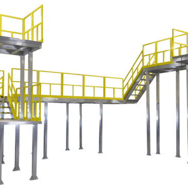 Custom, aluminum two-story work platform built to print, with bolted, powder coated handrail for OSHA compliant mezzanines, mobile scaffolding and manufacturing modules with 100% fall protection