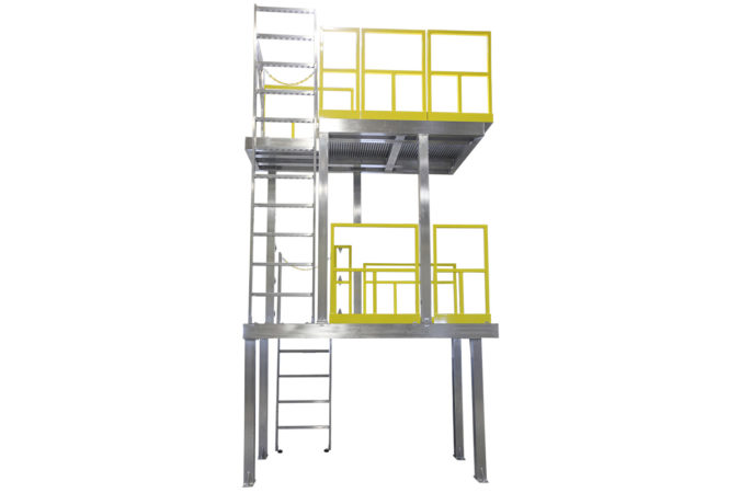 Custom, aluminum two-story work platform built to print, with ladders for compliant mezzanines, mobile scaffolding and manufacturing modules, with clearspan design