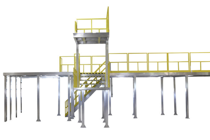 Custom, aluminum two-story work platform built to print, architectural installation for OSHA compliant mezzanines, mobile scaffolding and manufacturing modules