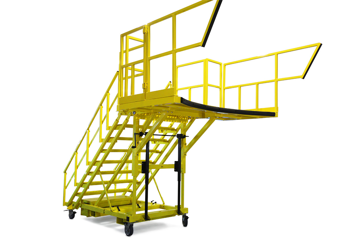 OSHA compliant aluminum mobile work platform with ladder and customized deck shape, and guardrail extensions for 100% fall prevention.