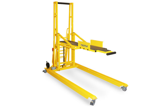 OSHA compliant, mobile, custom recumbent work platform for safely working in the prone position providing the technician 100% fall protection