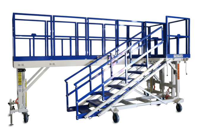 OSHA compliant, mobile, aluminum, height-adjustable work platform available in full powder coat or with on-deck electric controls for raising and lowering the platform.