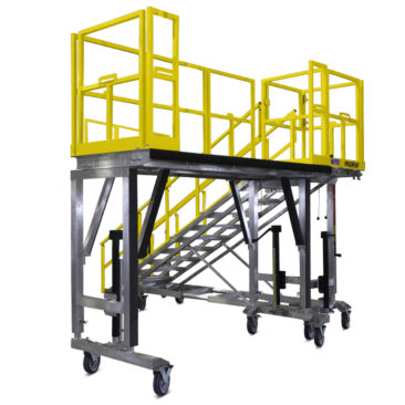 OSHA compliant, mobile aluminum fleet maintenance work platforms with customize guardrails for open access or 4-sided, cage fall protection while working on buses, trains, tactical or heavy vehicles.
