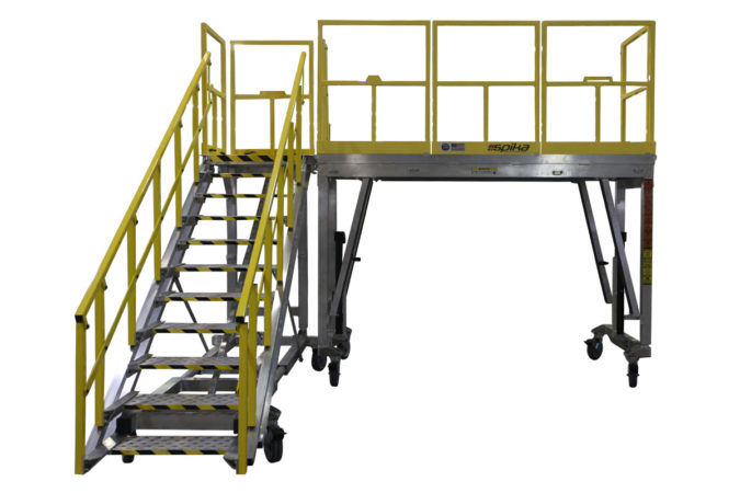 OSHA compliant, mobile, aluminum work platform available as a fixed height work stand or an adjustable height work platform with reconfigurable, tool-free guardrails that self-store on deck.