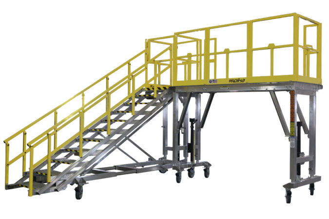 OSHA compliant, mobile, aluminum work platform with tool-free stair that attaches and detaches from the safety of the ground and can be attached at many points along the work platform.