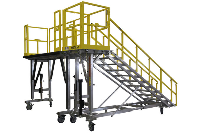 OSHA compliant mobile, aluminum work platform with detachable stair and completely custom guardrails, 4-side fall protection or 3-side fall protection.