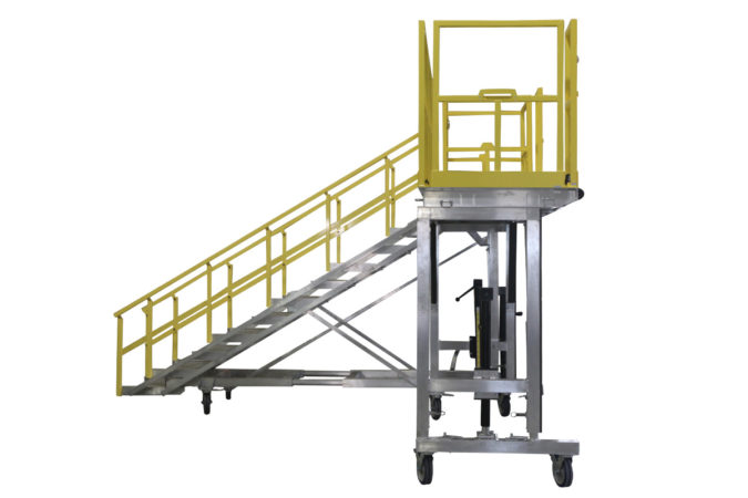 OSHA compliant portable, aluminum work-stand with adjustable staircase and offers electric or manual height control capable of vertical travel from one to eight feet or more.