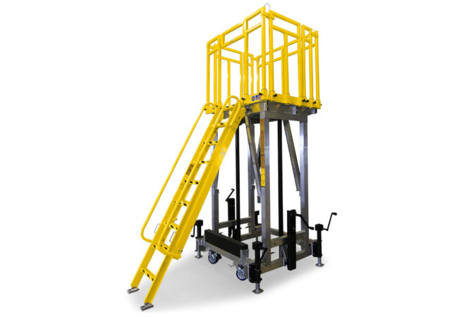 OSHA compliant, portable, aluminum work stand with telescopic ladder that extends with platform height, optional stabilizers provided extra security.