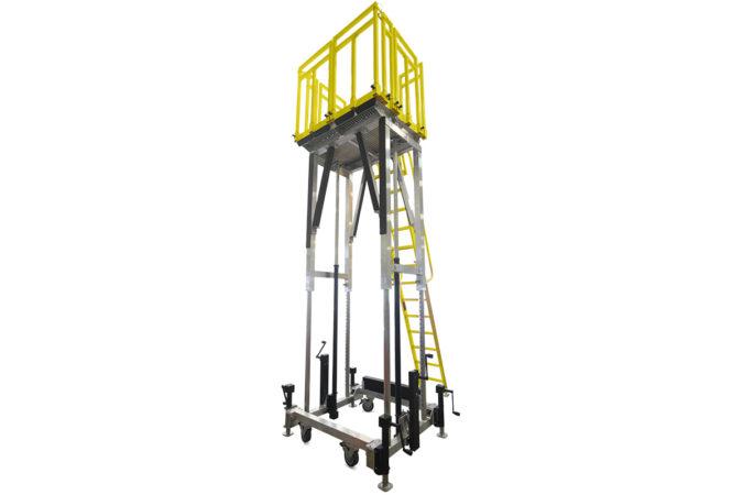OSHA compliant, mobile, aluminum work platform capable of height adjustment one to 8 feet or more using electric or manual actuation.