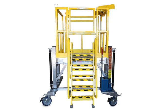 OSHA compliant, mobile, aluminum work platform capable of height adjustment up to 8 feet or more using electric or hydraulic actuation.