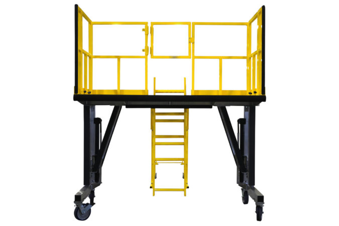 OSHA compliant, portable, aluminum work platform uses mechanically attached foam to protect personnel and assets.